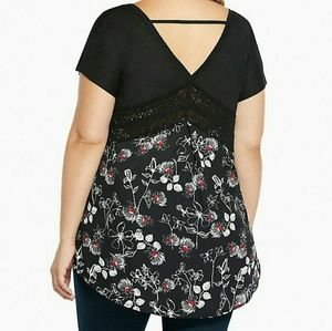 torrid Tops - Torrid 1 Floral Back Dolman Top Black Crochet Red